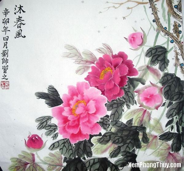 tranh hoa sen Những loại tranh treo trong phòng khách sẽ mang tới sự tốt lành